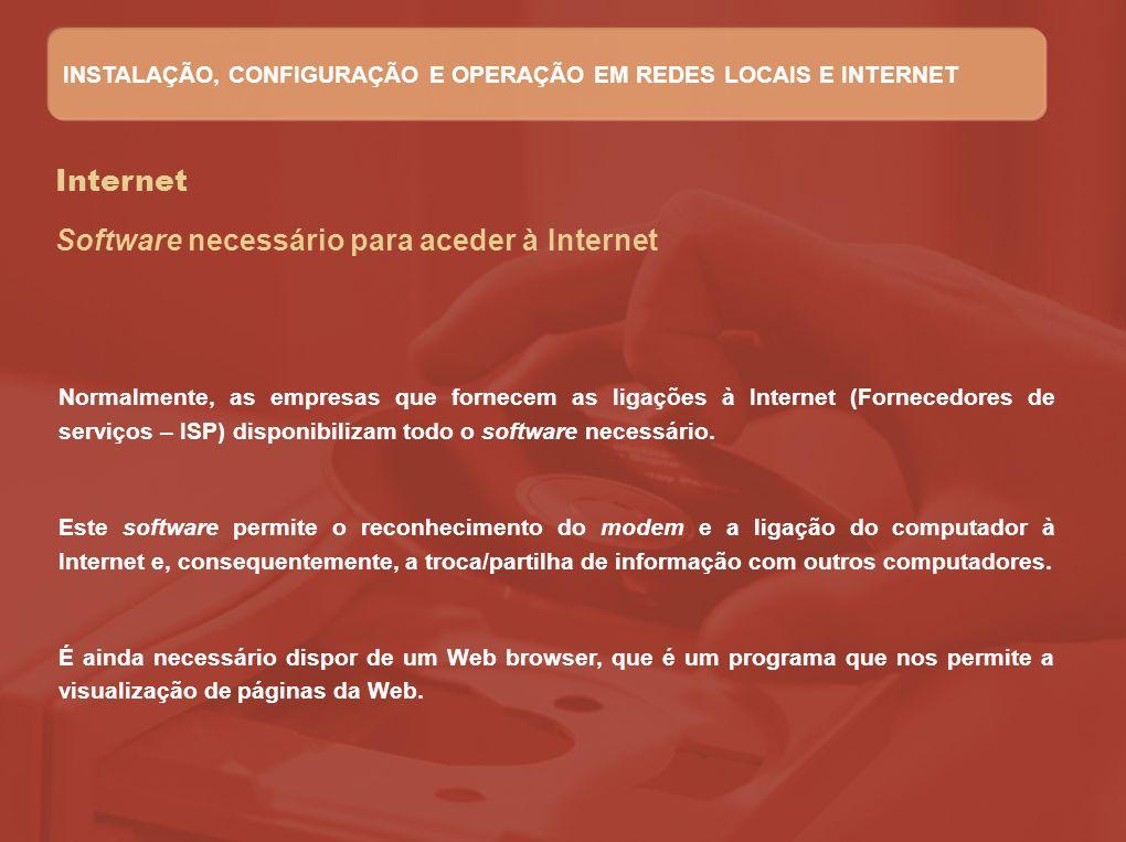 Software necessário para aceder à Internet