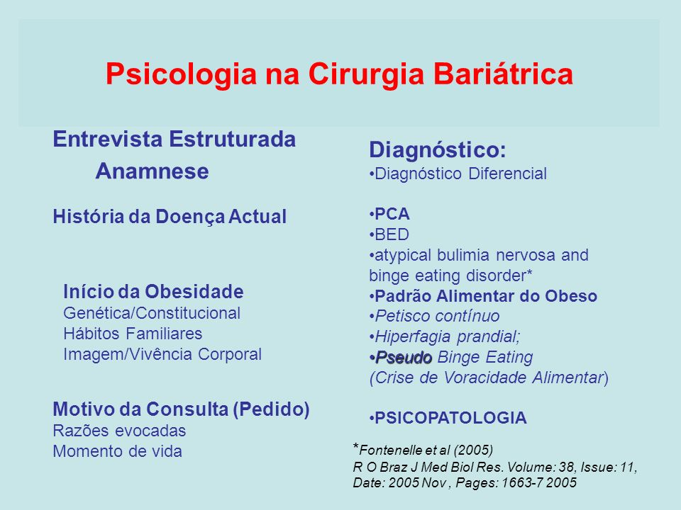 Psicologia na Cirurgia Bariátrica