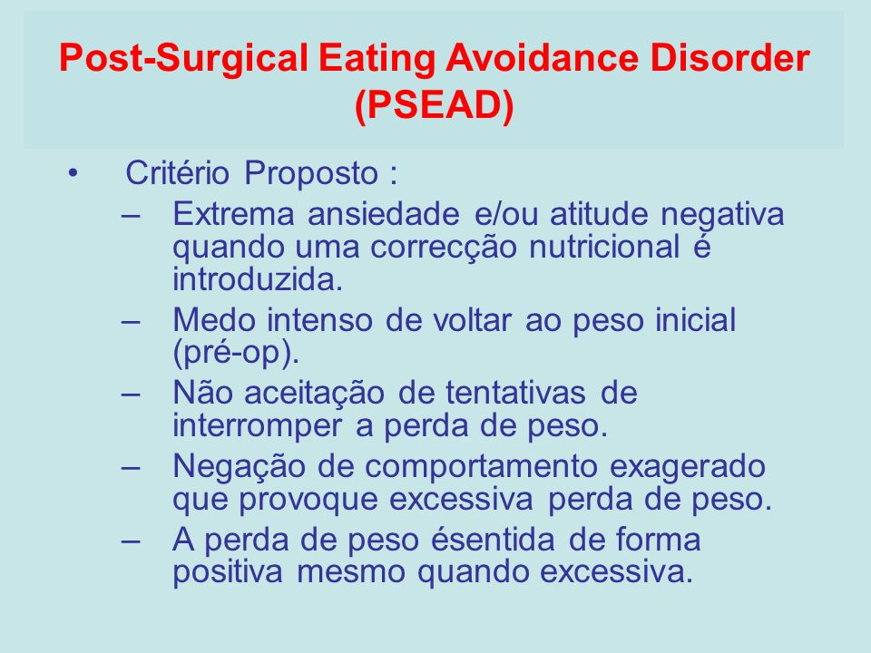 Post-Surgical Eating Avoidance Disorder (PSEAD)