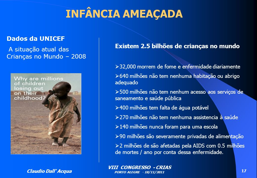 INFÂNCIA AMEAÇADA Dados da UNICEF