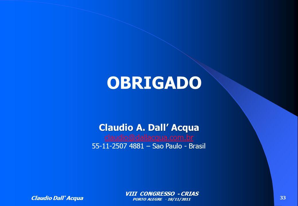 OBRIGADO Claudio A. Dall' Acqua claudio@dallacqua.com.br