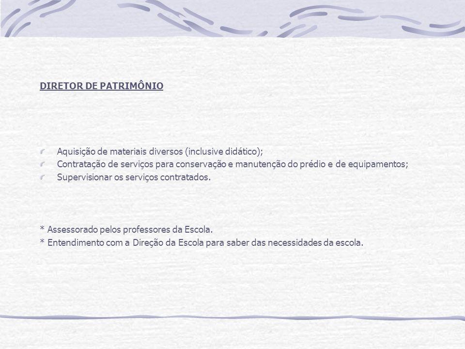 DIRETOR DE PATRIMÔNIO Aquisição de materiais diversos (inclusive didático);