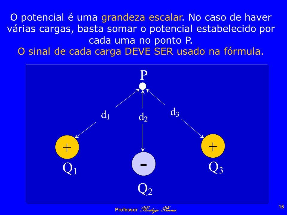 O sinal de cada carga DEVE SER usado na fórmula.