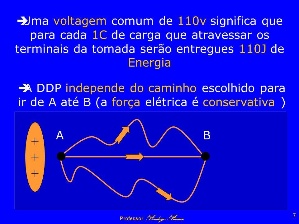 Uma voltagem comum de 110v significa que para cada 1C de carga que atravessar os terminais da tomada serão entregues 110J de Energia