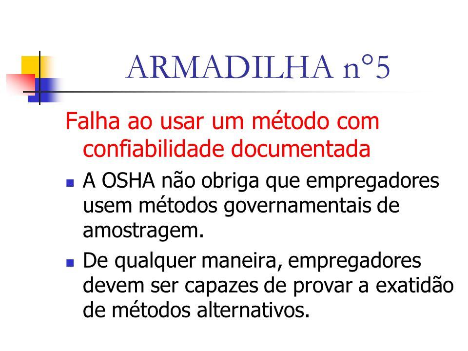 ARMADILHA n°5 Falha ao usar um método com confiabilidade documentada