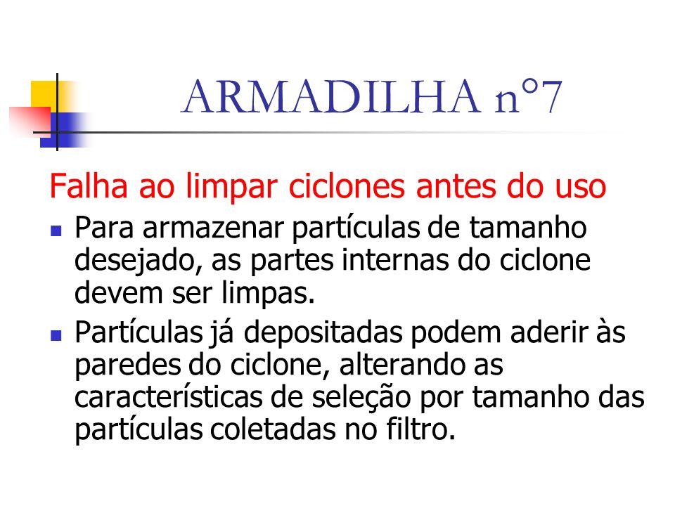ARMADILHA n°7 Falha ao limpar ciclones antes do uso