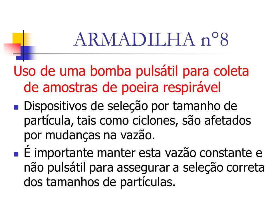 ARMADILHA n°8 Uso de uma bomba pulsátil para coleta de amostras de poeira respirável.