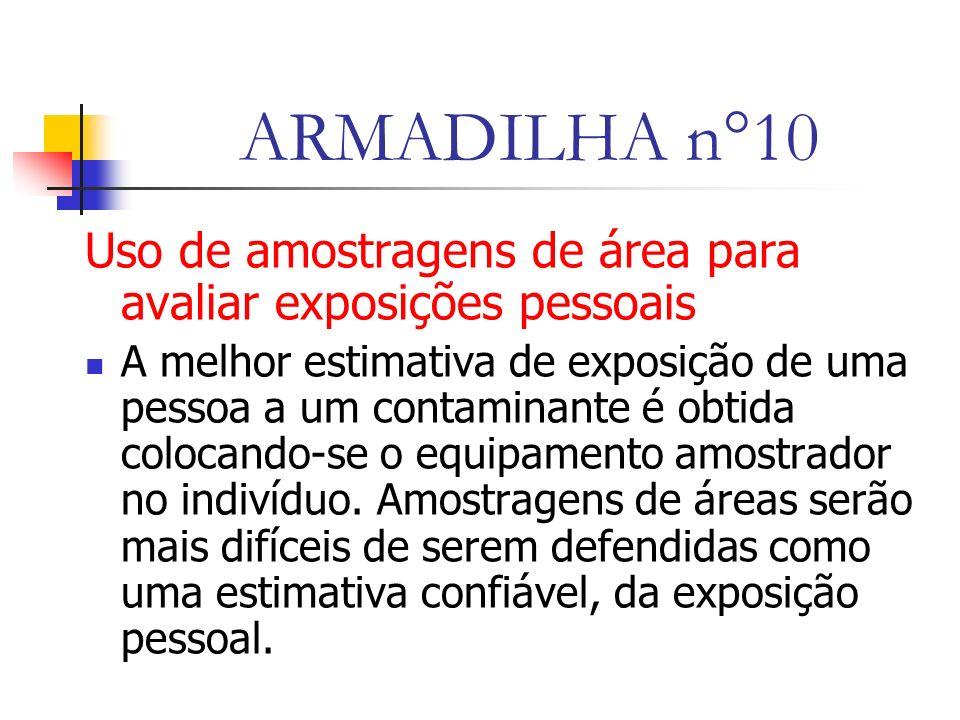 ARMADILHA n°10 Uso de amostragens de área para avaliar exposições pessoais.