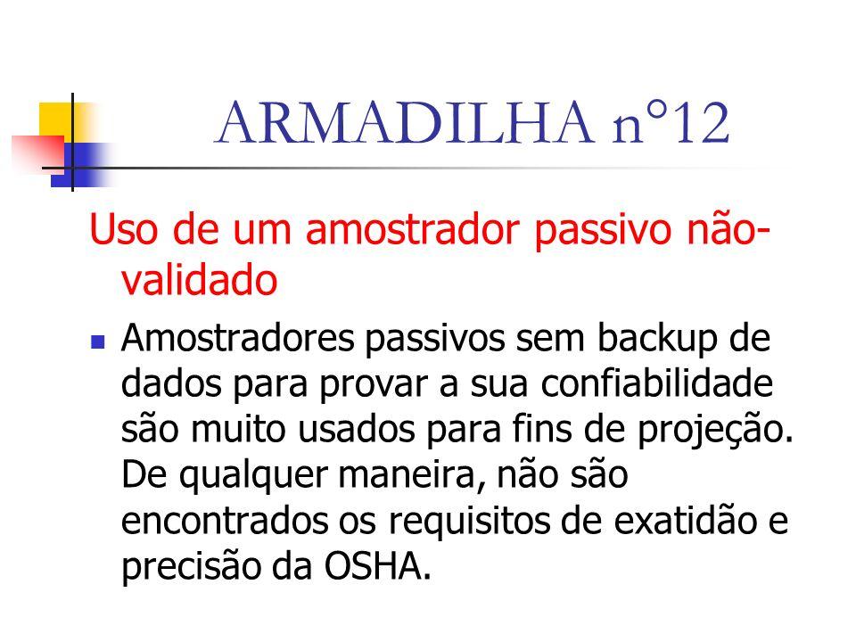 ARMADILHA n°12 Uso de um amostrador passivo não-validado