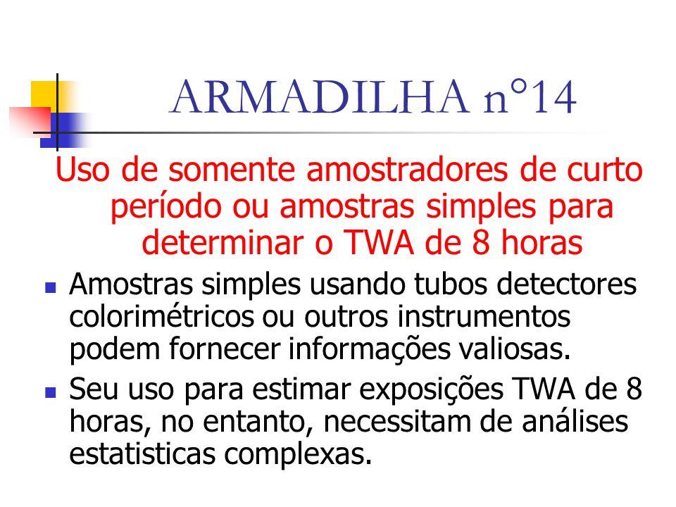 ARMADILHA n°14 Uso de somente amostradores de curto período ou amostras simples para determinar o TWA de 8 horas.