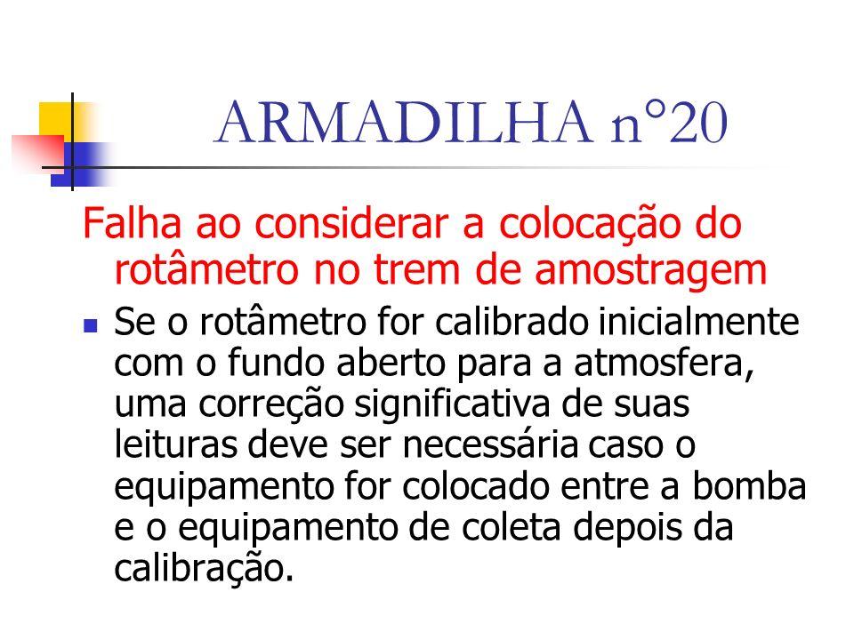 ARMADILHA n°20 Falha ao considerar a colocação do rotâmetro no trem de amostragem.