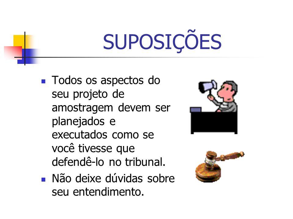 SUPOSIÇÕES Todos os aspectos do seu projeto de amostragem devem ser planejados e executados como se você tivesse que defendê-lo no tribunal.