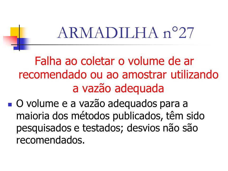 ARMADILHA n°27 Falha ao coletar o volume de ar recomendado ou ao amostrar utilizando a vazão adequada.