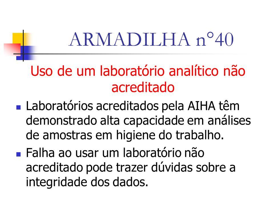 Uso de um laboratório analítico não acreditado
