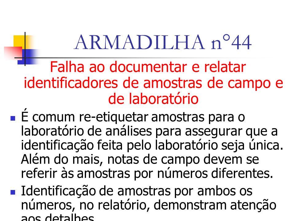 ARMADILHA n°44 Falha ao documentar e relatar identificadores de amostras de campo e de laboratório.