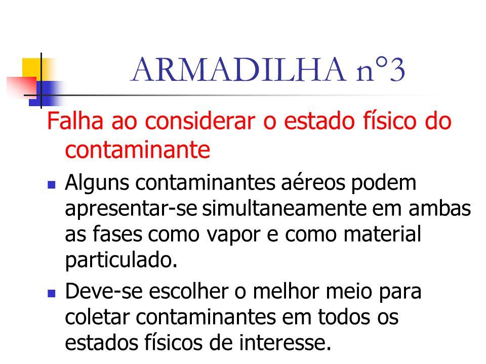 ARMADILHA n°3 Falha ao considerar o estado físico do contaminante