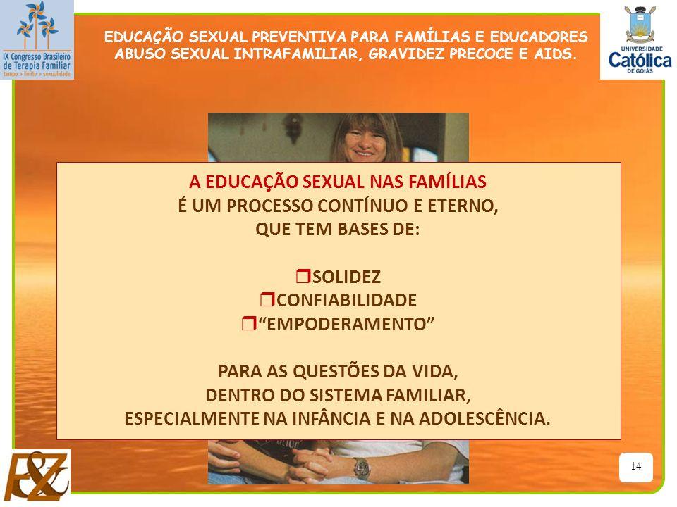 A EDUCAÇÃO SEXUAL NAS FAMÍLIAS É UM PROCESSO CONTÍNUO E ETERNO,