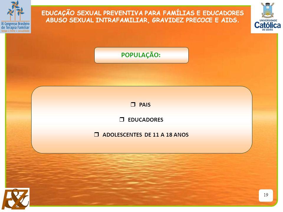 POPULAÇÃO: PAIS EDUCADORES ADOLESCENTES DE 11 A 18 ANOS