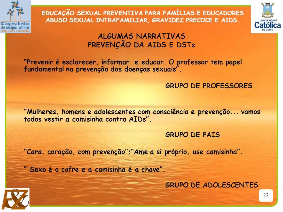 ALGUMAS NARRATIVAS PREVENÇÃO DA AIDS E DSTs
