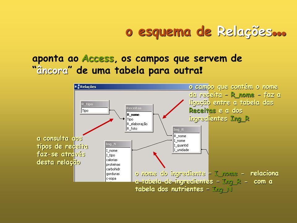 o esquema de Relações... aponta ao Access, os campos que servem de âncora de uma tabela para outra!