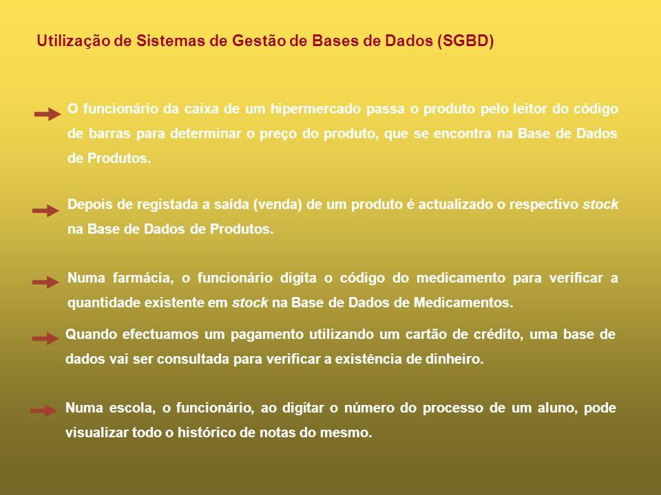 Utilização de Sistemas de Gestão de Bases de Dados (SGBD)