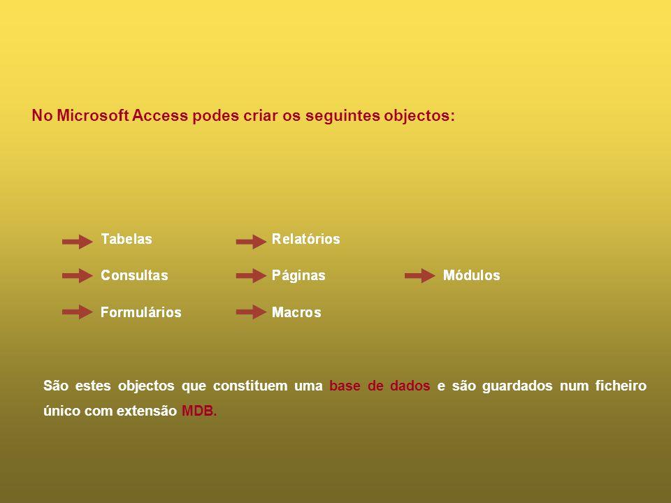 No Microsoft Access podes criar os seguintes objectos: