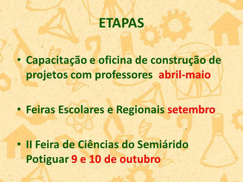 ETAPAS Capacitação e oficina de construção de projetos com professores abril-maio. Feiras Escolares e Regionais setembro.