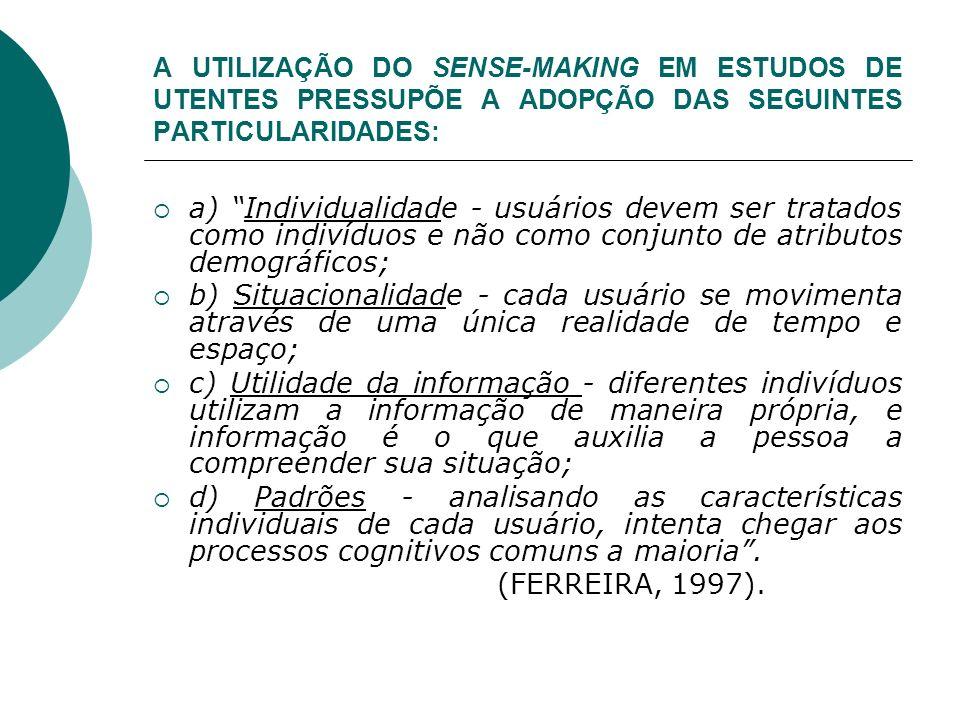 A UTILIZAÇÃO DO SENSE-MAKING EM ESTUDOS DE UTENTES PRESSUPÕE A ADOPÇÃO DAS SEGUINTES PARTICULARIDADES: