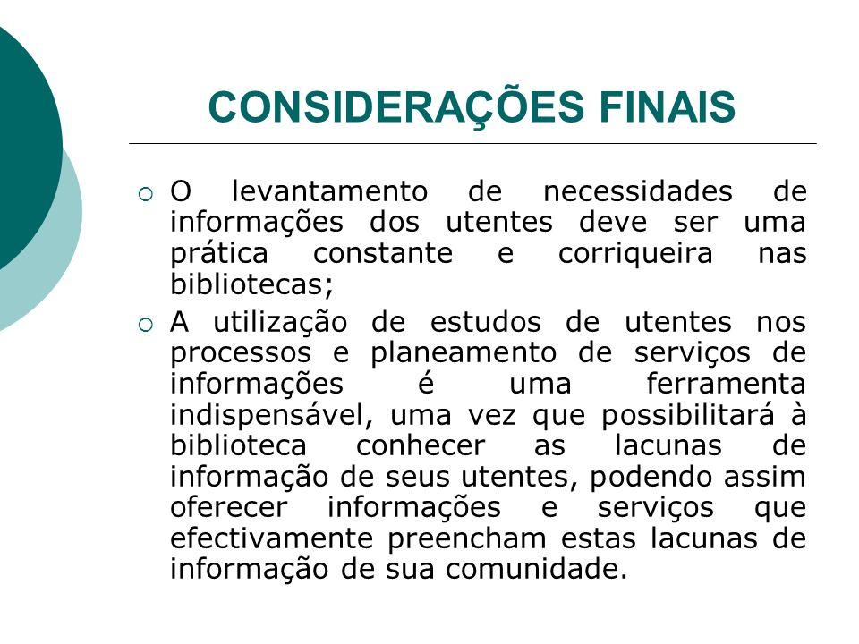 CONSIDERAÇÕES FINAIS O levantamento de necessidades de informações dos utentes deve ser uma prática constante e corriqueira nas bibliotecas;