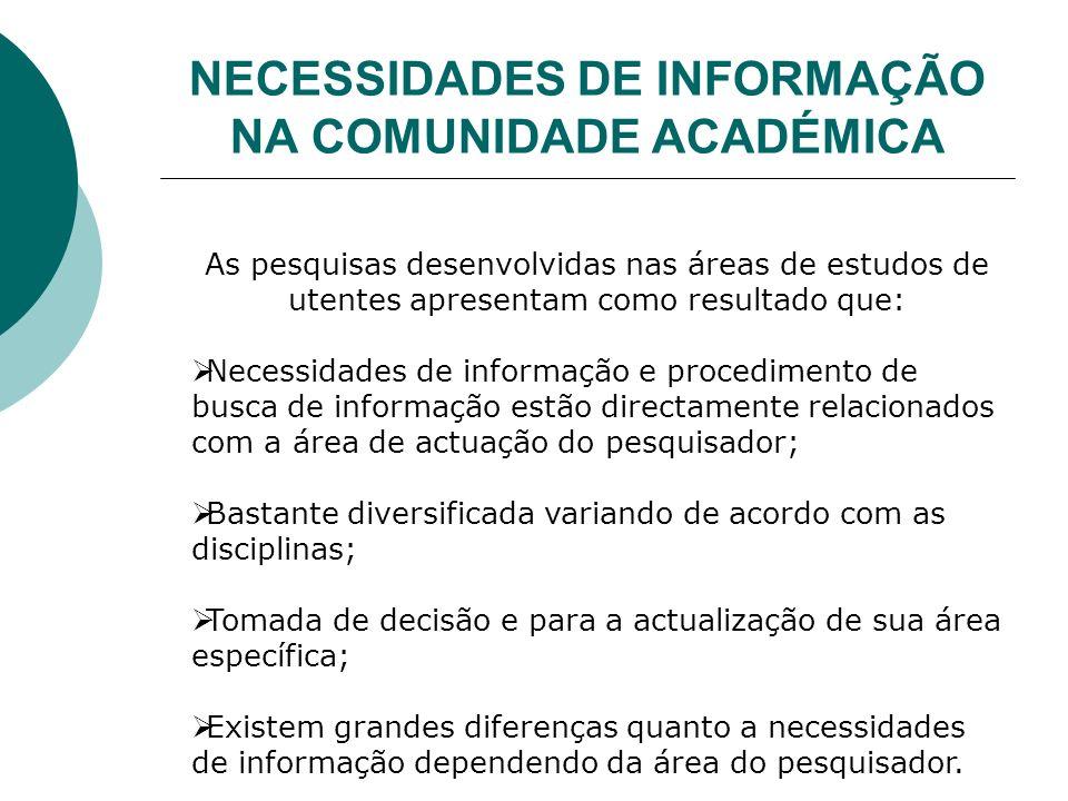 NECESSIDADES DE INFORMAÇÃO NA COMUNIDADE ACADÉMICA