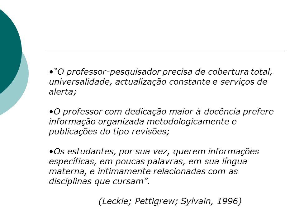 O professor-pesquisador precisa de cobertura total, universalidade, actualização constante e serviços de alerta;