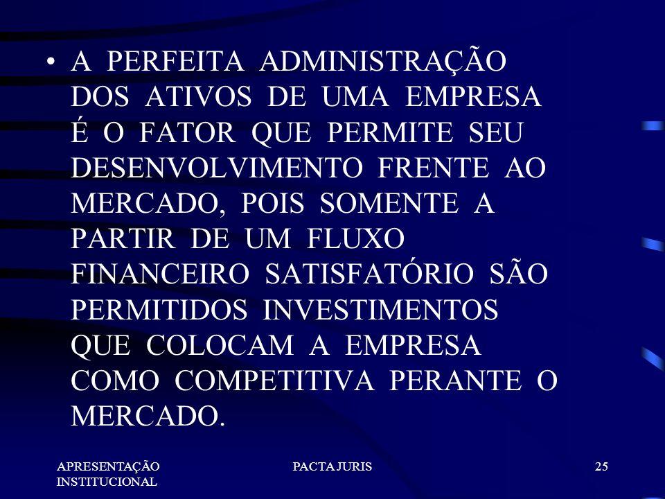 A PERFEITA ADMINISTRAÇÃO DOS ATIVOS DE UMA EMPRESA É O FATOR QUE PERMITE SEU DESENVOLVIMENTO FRENTE AO MERCADO, POIS SOMENTE A PARTIR DE UM FLUXO FINANCEIRO SATISFATÓRIO SÃO PERMITIDOS INVESTIMENTOS QUE COLOCAM A EMPRESA COMO COMPETITIVA PERANTE O MERCADO.