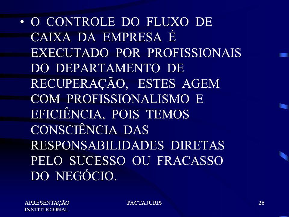 O CONTROLE DO FLUXO DE CAIXA DA EMPRESA É EXECUTADO POR PROFISSIONAIS DO DEPARTAMENTO DE RECUPERAÇÃO, ESTES AGEM COM PROFISSIONALISMO E EFICIÊNCIA, POIS TEMOS CONSCIÊNCIA DAS RESPONSABILIDADES DIRETAS PELO SUCESSO OU FRACASSO DO NEGÓCIO.