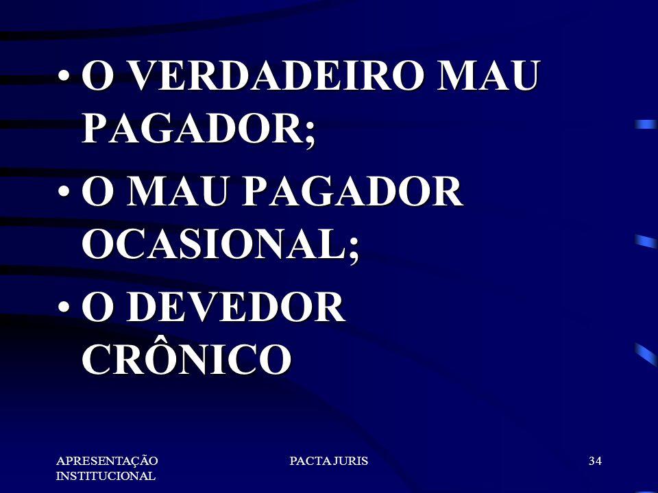 O VERDADEIRO MAU PAGADOR; O MAU PAGADOR OCASIONAL; O DEVEDOR CRÔNICO