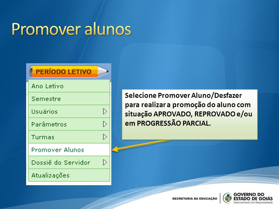 Promover alunos Selecione Promover Aluno/Desfazer para realizar a promoção do aluno com situação APROVADO, REPROVADO e/ou em PROGRESSÃO PARCIAL.