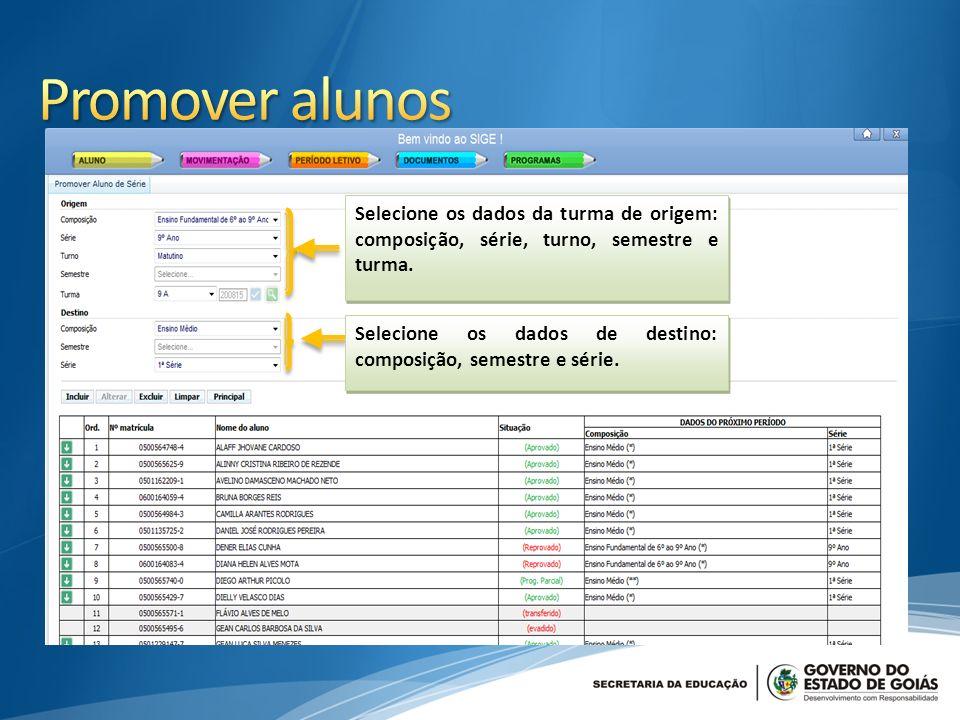 Promover alunos Selecione os dados da turma de origem: composição, série, turno, semestre e turma.