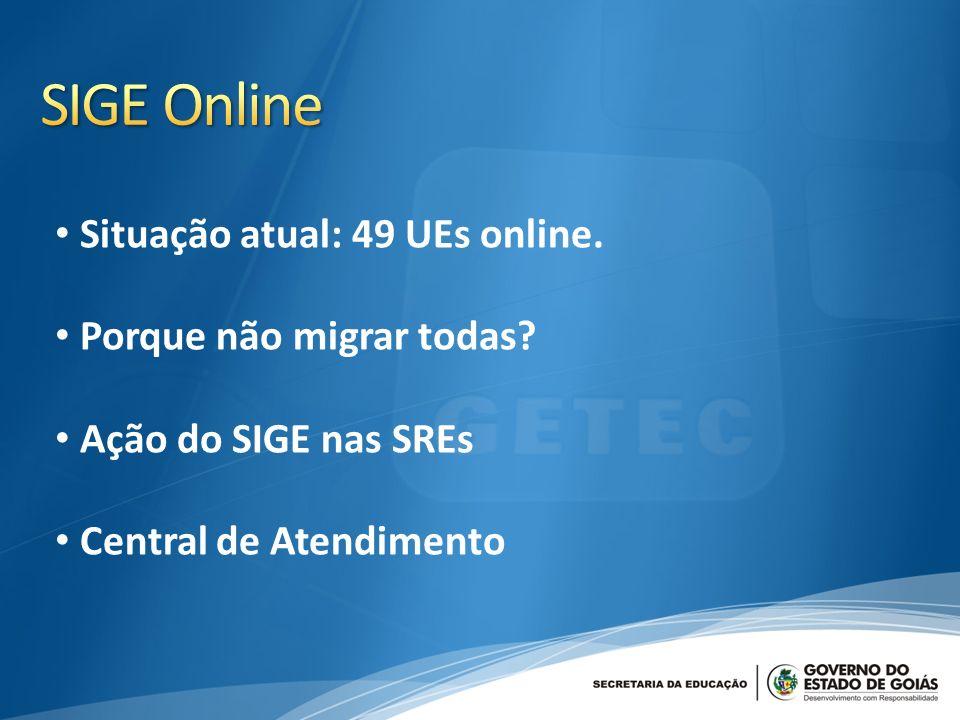 SIGE Online Situação atual: 49 UEs online. Porque não migrar todas
