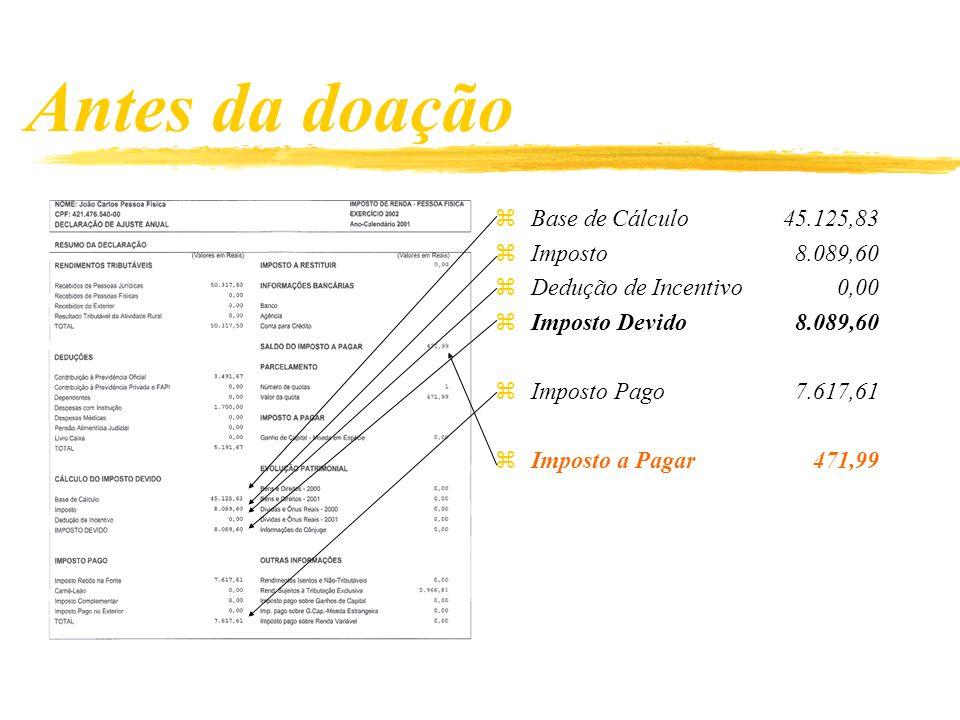 Antes da doação Base de Cálculo 45.125,83 Imposto 8.089,60