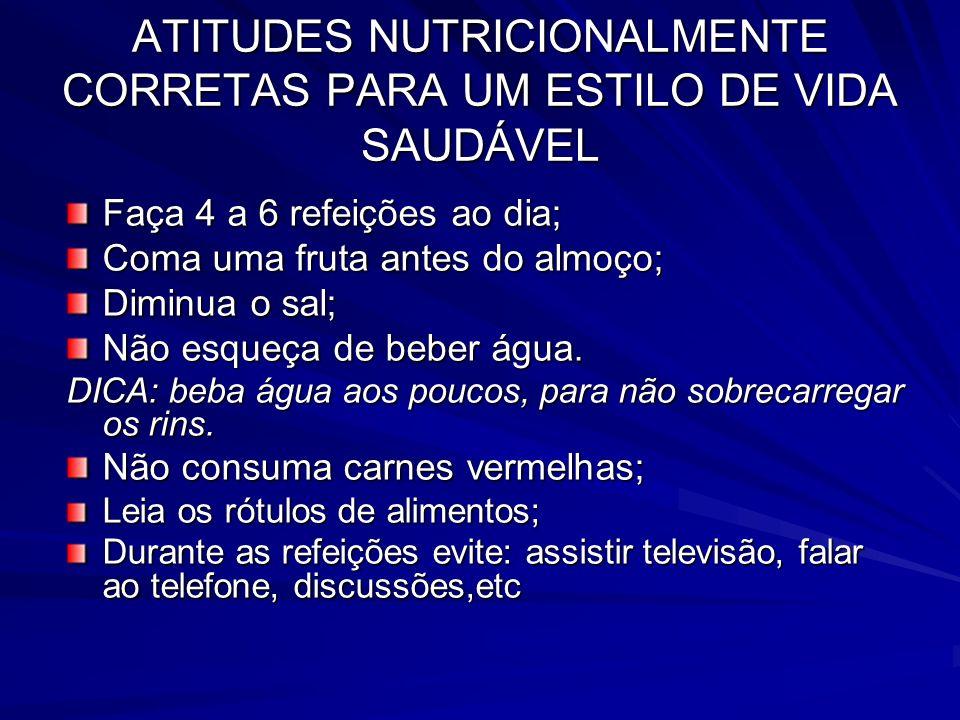 ATITUDES NUTRICIONALMENTE CORRETAS PARA UM ESTILO DE VIDA SAUDÁVEL