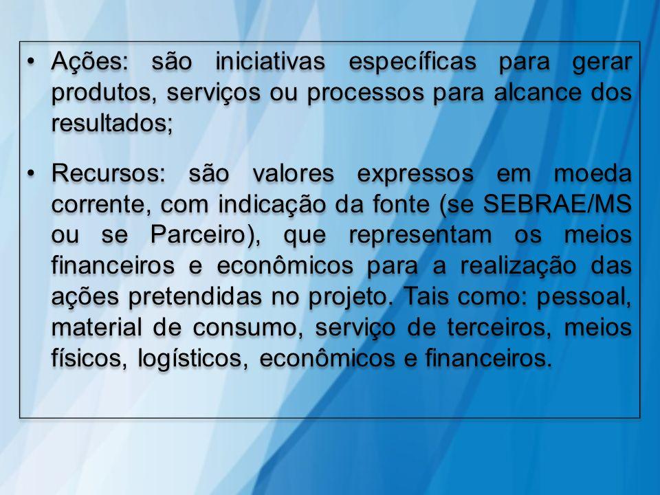Ações: são iniciativas específicas para gerar produtos, serviços ou processos para alcance dos resultados;