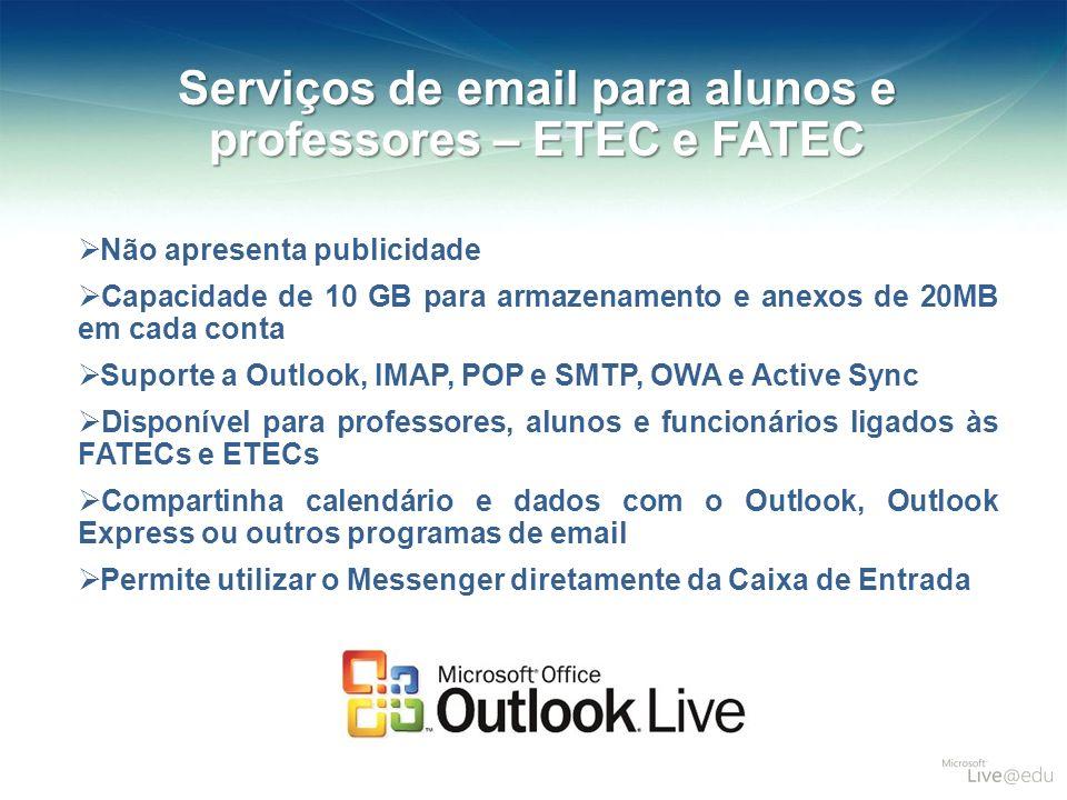 Serviços de email para alunos e professores – ETEC e FATEC