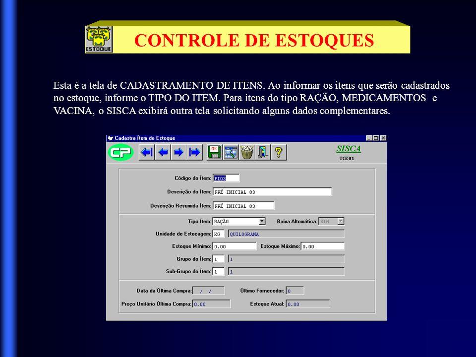 CONTROLE DE ESTOQUES Esta é a tela de CADASTRAMENTO DE ITENS. Ao informar os itens que serão cadastrados.