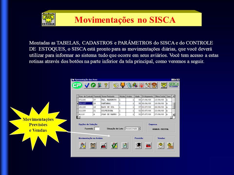 Movimentações no SISCA