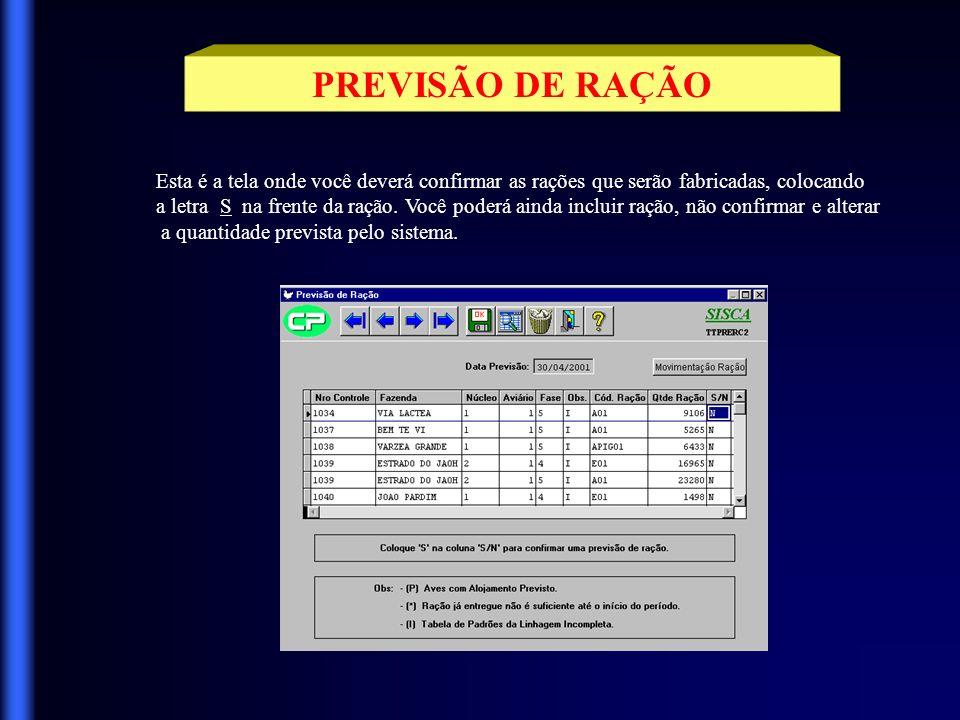 PREVISÃO DE RAÇÃO Esta é a tela onde você deverá confirmar as rações que serão fabricadas, colocando.