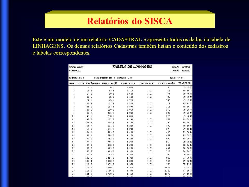 Relatórios do SISCA Este é um modelo de um relatório CADASTRAL e apresenta todos os dados da tabela de.