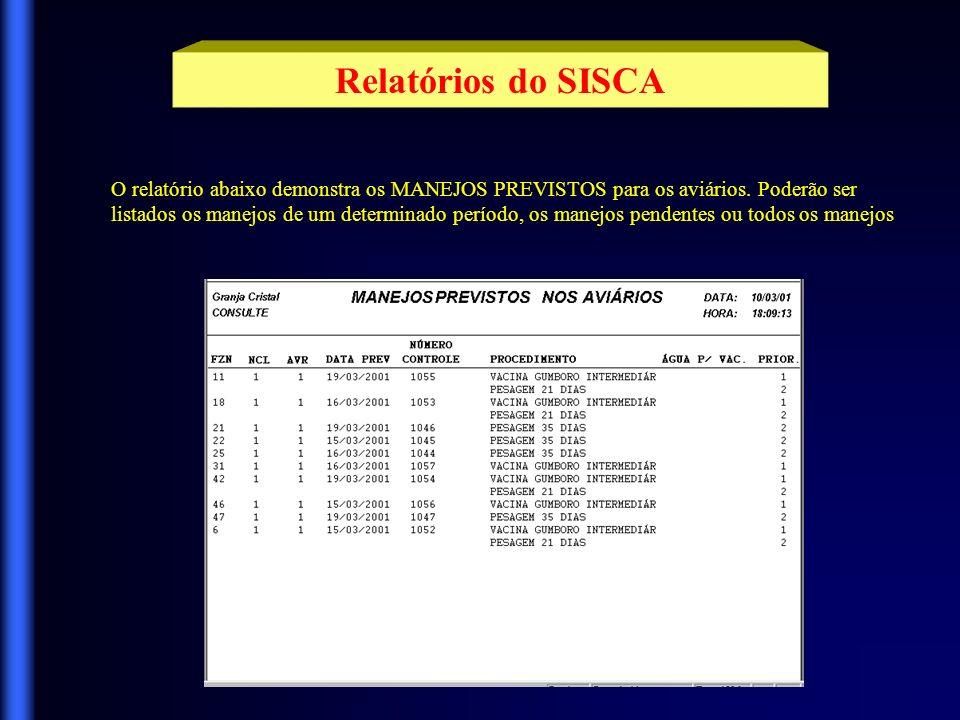 Relatórios do SISCA O relatório abaixo demonstra os MANEJOS PREVISTOS para os aviários. Poderão ser.