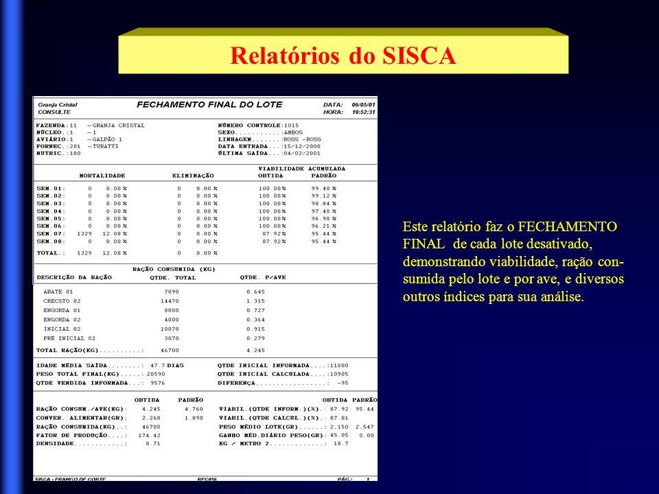 Relatórios do SISCA Este relatório faz o FECHAMENTO