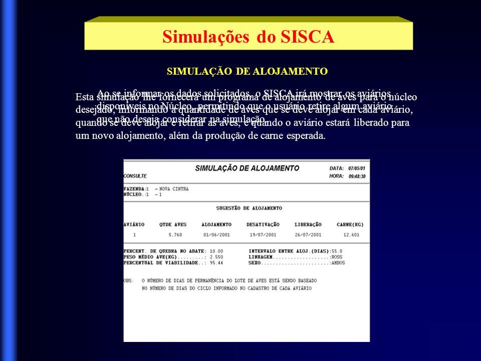 SIMULAÇÃO DE ALOJAMENTO