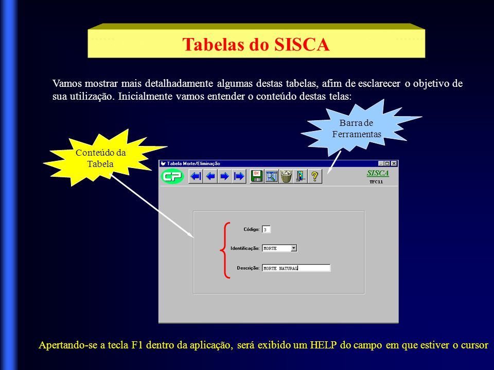 Tabelas do SISCA Vamos mostrar mais detalhadamente algumas destas tabelas, afim de esclarecer o objetivo de.