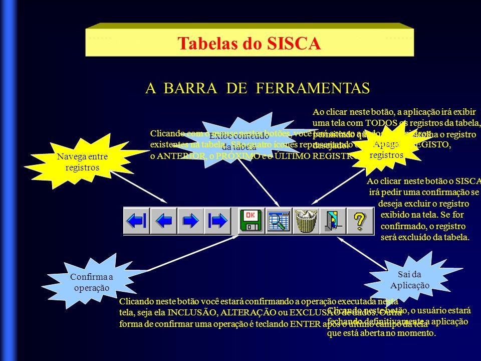 Tabelas do SISCA A BARRA DE FERRAMENTAS